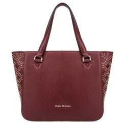 Красивая женская сумка из натуральной кожи бордового цвета с хольнитенами от Fiato Dream, арт. 1212-d178708