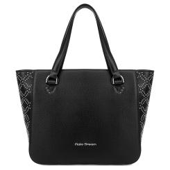 Элегантная женская кожаная сумка черного цвета с узором из хольнитенов от Fiato Dream, арт. 1212-d178752