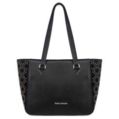 Модная женская кожаная сумка черного цвета украшенная узором из хольнитенов от Fiato Dream, арт. 1212