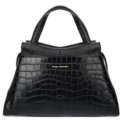 Стильная женская кожаная сумка черного цвета с тиснением под крокодила от Fiato Dream, арт. 12130-d178407