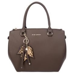 Модная женская сумка коричневого цвета из натуральной кожи сафьяно от Fiato Dream, арт. 1216