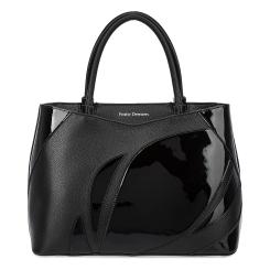 Лакированная женская кожаная сумка черного цвета с матовой вставкой  от Fiato Dream, арт. 1218