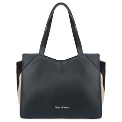 Женская сумка синего цвета из натуральной кожи с черно-бежевыми вставками от Fiato Dream, арт. 1224-d178434