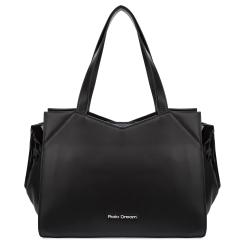 Стильная женская кожаная сумка черного цвета с лаковыми вставками от Fiato Dream, арт. 1224