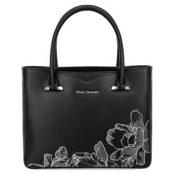 Элегантная женская сумка черного цвета из плотной натуральной кожи от Fiato Dream, арт. 1227-d178439