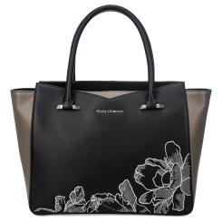 Стильная женская сумка черного цвета из натуральной кожи с вышивкой от Fiato Dream, арт. 1227