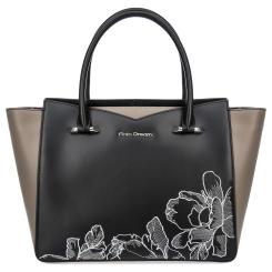 Стильная женская кожаная сумка черного цвета с боковыми вставками серого цвета от Fiato Dream, арт. 1228-d178442