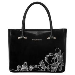 Модная женская сумка из натуральной кожи черного цвета с вышитым узором от Fiato Dream, арт. 1228