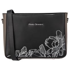Элегантная женская кожаная сумка черного цвета с серыми вставками от Fiato Dream, арт. 1229-d178444