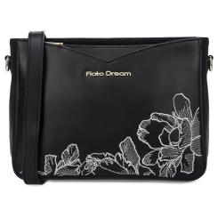 Женская кожаная сумка через плечо черного цвета, модель украшенная вышивкой от Fiato Dream, арт. 1229