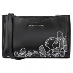 Стильная женская кожаная сумка черного цвета с элегантной вышивкой от Fiato Dream, арт. 1230