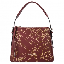Бордовая женская сумка из натуральной кожи, модель украшенная принтом от Fiato Dream, арт. 1231