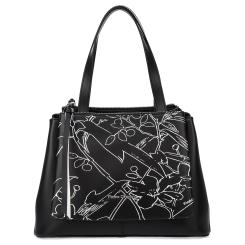 Стильная кожаная женская сумка черного цвета украшенная принтом от Fiato Dream, арт. 1232-d178451