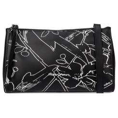 Женская кожаная сумка через плечо черного цвета, модель украшенная принтом от Fiato Dream, арт. 1234