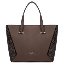 Красивая женская кожаная сумка коричневого цвета с боковыми вставками от Fiato Dream, арт. 1236-d178453
