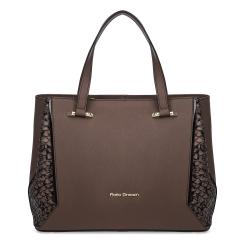 Эффектная женская кожаная сумка коричневого цвета с роскошной вставкой по бокам от Fiato Dream, арт. 1237-d178458