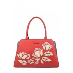 Яркая женская сумка из натуральной кожи кораллового цвета с аппликацией от Fiato Dream, арт. 1801-d183806