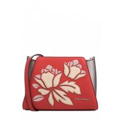 Женская сумка через плечо из натуральной кожи кораллового цвета с аппликацией от Fiato Dream, арт. 1802