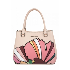 Красивая женская сумка из бежевой натуральной кожи с красивым принтом от Fiato Dream, арт. 1809-d183876