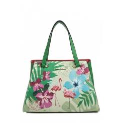 Летняя женская сумка из зеленой натуральной кожи с цветочным принтом от Fiato Dream, арт. 1811-d183832