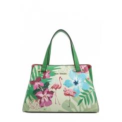Универсальная женская сумка из зеленой натуральной кожи с цветочным принтом от Fiato Dream, арт. 1812-d183835