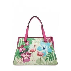 Стильная женская сумка из натуральной кожи цвета фуксии с рисунком от Fiato Dream, арт. 1812-d183836