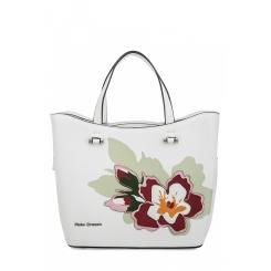 Летняя женская сумка из белой натуральной кожи с цветочной аппликацией от Fiato Dream, арт. 1814-d183884