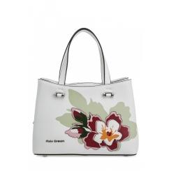 Летняя женская сумка  из белой натуральной кожи с цветочной аппликацией от Fiato Dream, арт. 1815-d183844