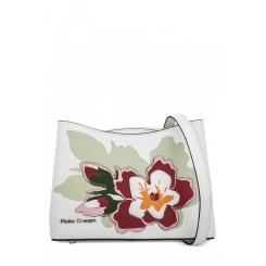 Оригинальная женская сумка из белой натуральной кожи с цветочной аппликацией от Fiato Dream, арт. 1816-d183847