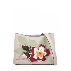 Женская сумка через плечо из бежевой натуральной кожи с цветочной аппликацией от Fiato Dream, арт. 1816