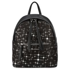 Повседневный женский рюкзак из натуральной кожи черного цвета, украшен принтом от Fiato Dream, арт. 2005-d178727