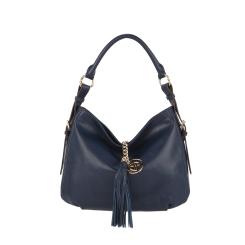 Женская сумка-мешок из мягкой темно-синей кожи от Fiato Dream, арт. 2017