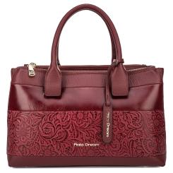Бордовая женская сумка из натуральной кожи с красивым узором от Fiato Dream, арт. 2020-d178728