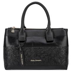 Практичная женская сумка черного цвета из натуральной кожи с элегантным узором от Fiato Dream, арт. 2020-d178729