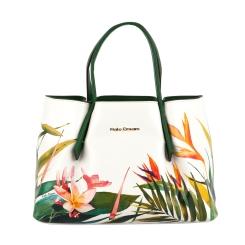 Женская белая сумка с зелеными ручками и вставкой у основной молнии от Fiato Dream, арт. 2033-d149119