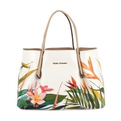 Белая женская сумка с изображением тропических цветов от Fiato Dream, арт. 2033