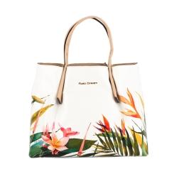 Большая белая сумка с рисунком и бежевыми ручками, вставками от Fiato Dream, арт. 2034-d149183