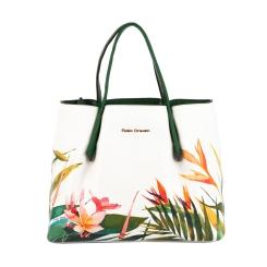 Белая женская сумка с зелеными ручками и вставками, выполненная из кожи от Fiato Dream, арт. 2034-d149184