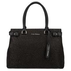 Модная женская кожаная сумка черного цвета с узором на лицевой панели от Fiato Dream, арт. 2038-d178733