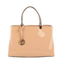 Бежевая классическая женская сумка из натуральной лакированной кожи от Fiato Dream, арт. 2041-d149135