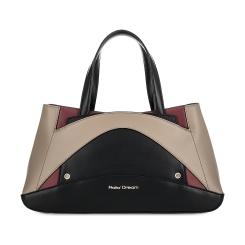 Женская кожаная сумка черного цвета с бежевыми и бордовыми вставками от Fiato Dream, арт. 2166