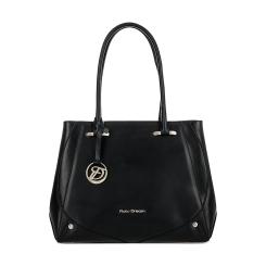 Черная женская деловая сумка из натуральной кожи с естественным рисунком от Fiato Dream, арт. 2619