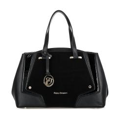 Черная женская сумка оригинальной формы с большой замшевой вставкой от Fiato Dream, арт. 2627-d151968