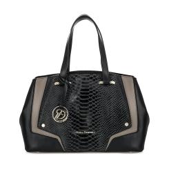 Женская сумка из плотной черной натуральной кожи с декоративной вставкой от Fiato Dream, арт. 2627