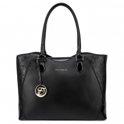 Элегантная женская кожаная сумка черного цвета, модель с растительным узором от Fiato Dream, арт. 3002-d178717
