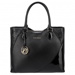 Практичная женская сумка из черной натуральной кожи с узором от Fiato Dream, арт. 3003-d178715