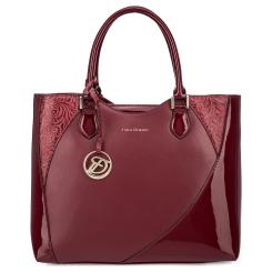 Эффектная бордовая женская сумка с узором из натуральной кожи с лаковыми вставками от Fiato Dream, арт. 3003-d178716