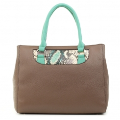 Женская бежевая вместительная сумка, дополненная вставкой под кожу змеи от Fiato Dream, арт. 3015