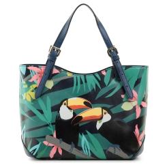 Летняя женская сумка из натуральной кожи с изображением тропических птиц от Fiato Dream, арт. 3019