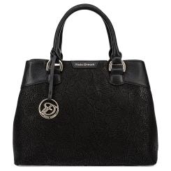Модная женская сумка из черной натуральной кожи с узором от Fiato Dream, арт. 3024